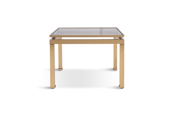 hollywood regency brass smoked glass side table