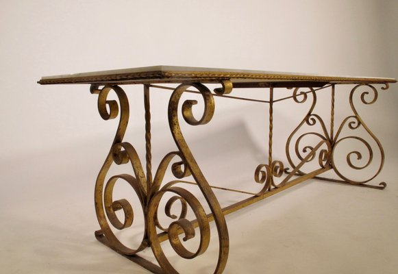 french marble wrought iron console table 1930s