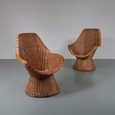chaises vintage en osier 1960s set de 2 1