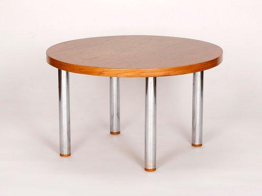 table basse vintage en acier en bois 1950s