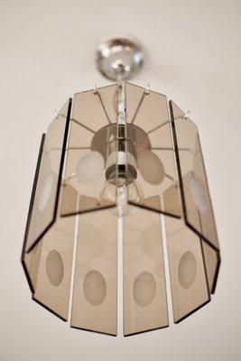 Lampadario anni 60 space age, acciaio e murano. Lampadario In Vetro Fume E Acciaio Italia Anni 70 In Vendita Su Pamono