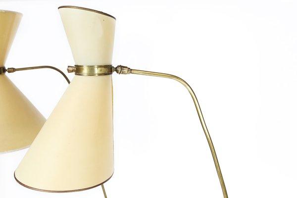 lampadaire mid century avec abat jours diabolo originaux par maison lunel france