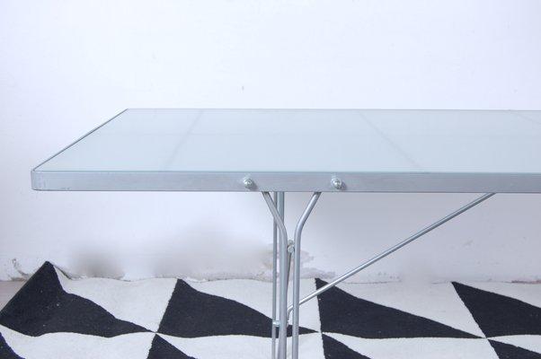 table moment en acier et en verre par niels gammelgaard pour ikea 1987