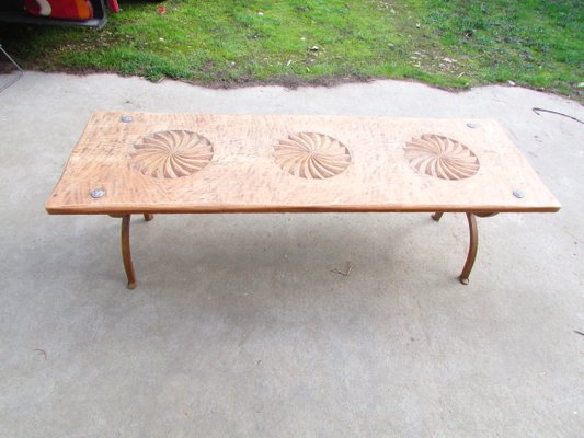 vintage oak and wrought iron coffee table