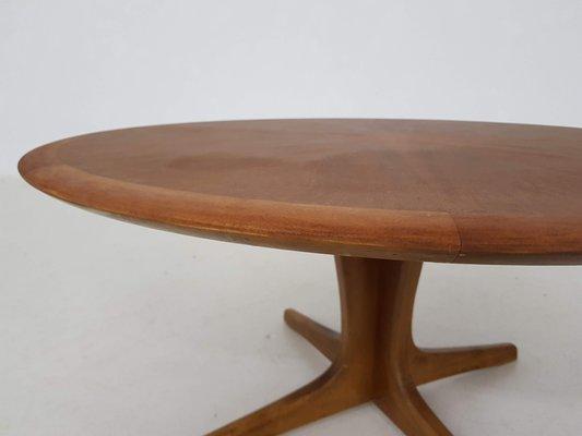 grande table basse ronde avec marqueterie en bois par n o moller 1960s
