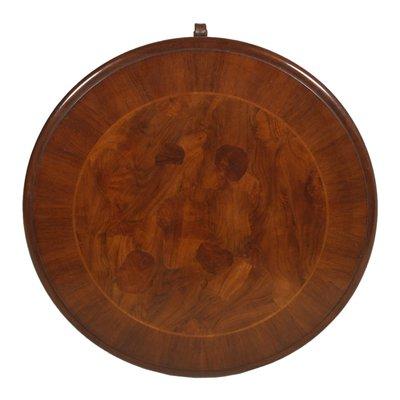 baroque burl carved walnut wax polished round coffee table 1940s