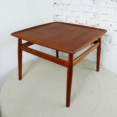 vintage teak coffee table with raised edges