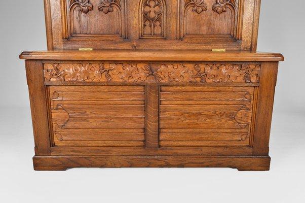 banc d entree avec coffre gothique en chene sculpte france 1880s
