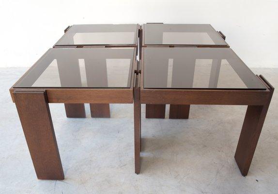 tables basses modulables empilables en bois massif par gianfranco frattini pour cassina 1965 set de 4