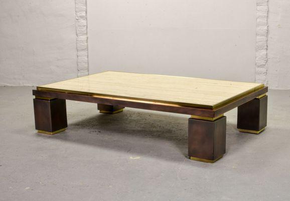large mid century travertine coffee table from belgo chrom 1970s
