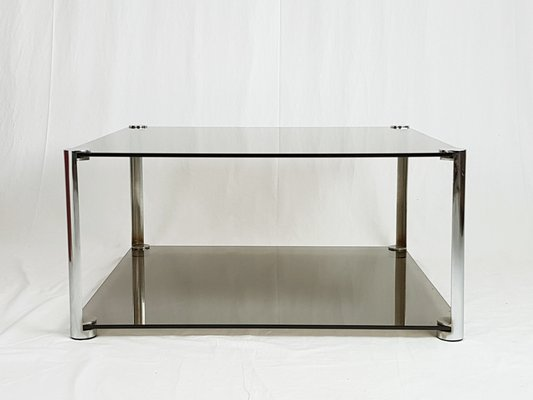 smoked chrome plated glass coffee table 1960s