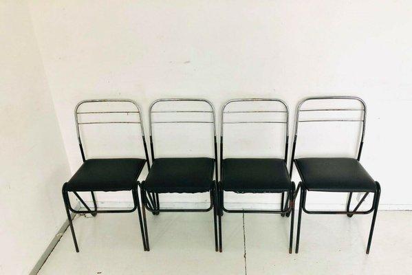 Altezza seduta cm 46 altezza totale schienale cm 81. Vintage Black Skai Metal Chairs 1970s Set Of 4 For Sale At Pamono