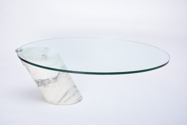 model k1000 white marble glass coffee table by team form for ronald schmitt 1980s