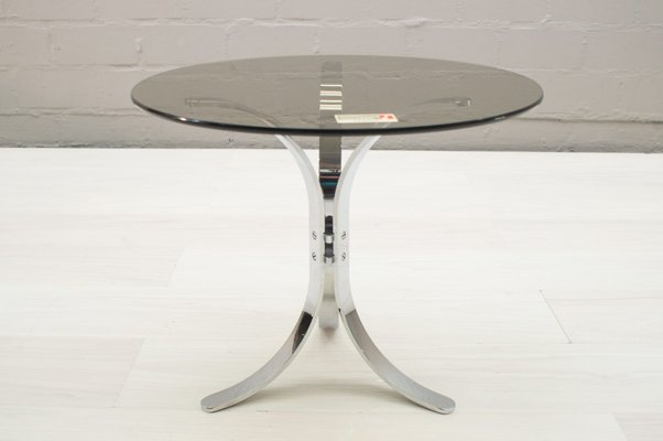 german chrome smoked glass side tables from ronald schmitt 1960s set of 2