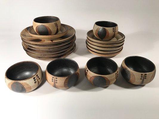 german vintage 24 piece ceramic coffee set from sgrafo modern 1960s