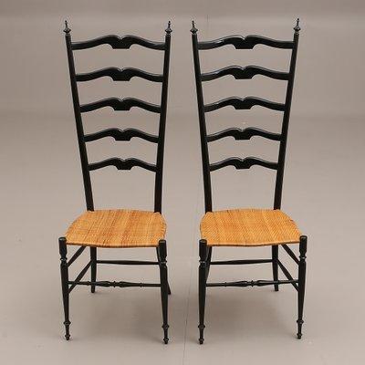 chaises a haut dossier chiavari mid century en bois noirci set de 2