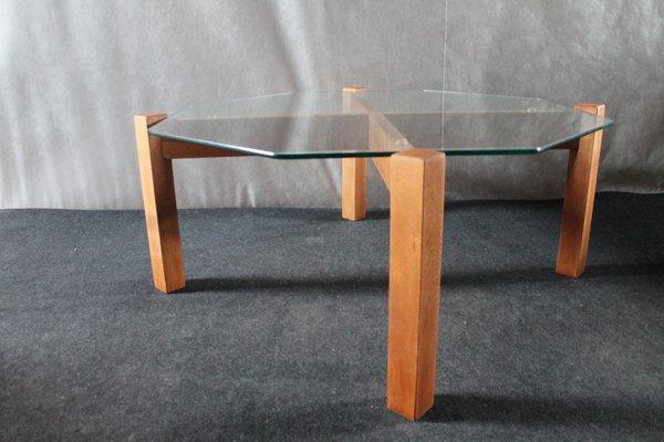 minimalist german glass and wood coffee table 1980s