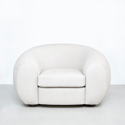 mid century modern style white upholstered armchair
