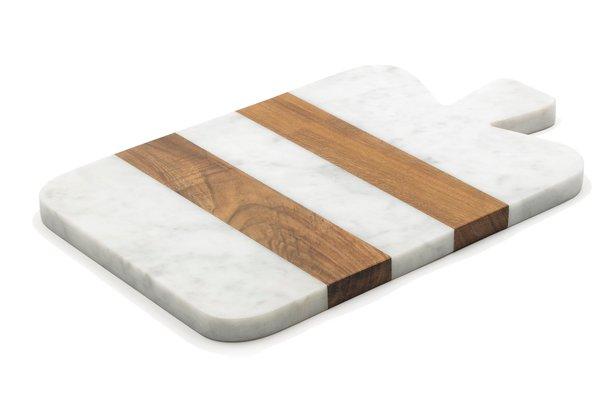 petite planche a decouper en marbre blanc et bois de fiammettav home collection