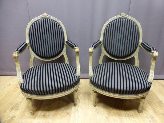 fauteuils style louis xvi en tissu et velours france set de 2