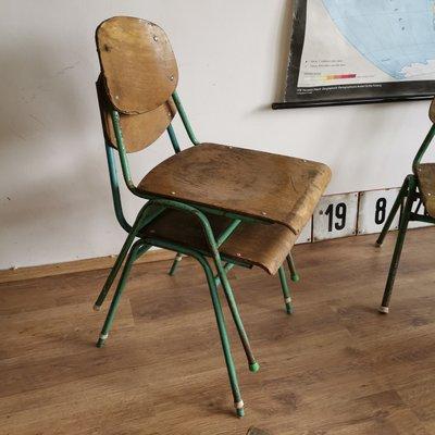 chaises d ecole vintage avec cadre en metal set de 4