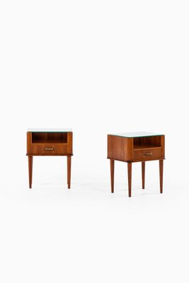 scandinavian modern brass and glass side tables by axel larsson for bodafors 1940s set of 2