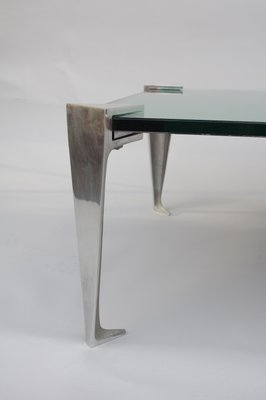 aluminium and mirrored coffee table 1980s