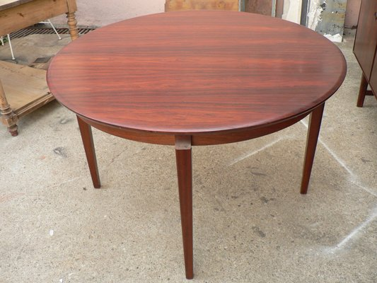 table de salle a manger ronde extensible scandinave mid century en placage de palissandre
