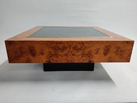 table basse vintage en laiton verre et en broussin par pierre cardin france 1970s