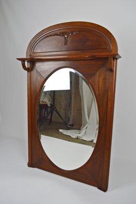 miroir de cheminee art nouveau antique en noyer sculpte france 1910s