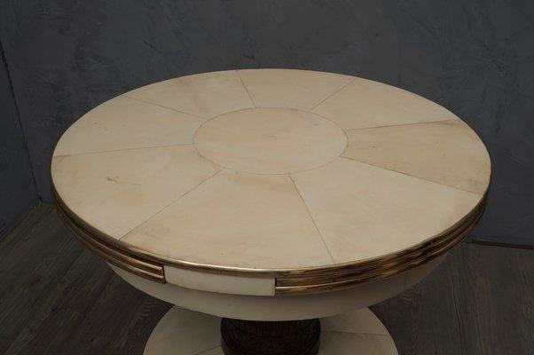 table de salle a manger ronde extensible en frene laiton et peau de chevre 1920s