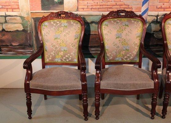 fauteuils louis philippe ancien en acajou set de 4