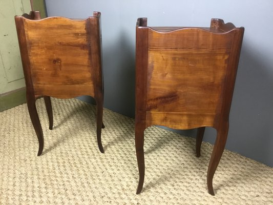 antique cherry wood nightstands 1920s set of 2
