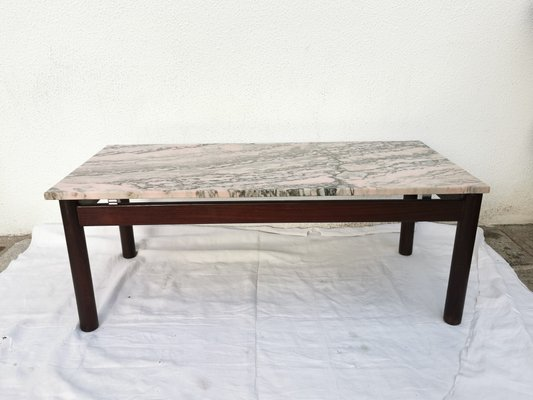 pink marble and african wood coffee table 1960s
