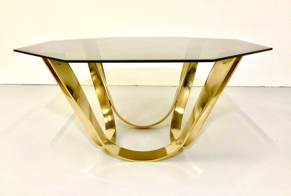 mid century smoked glass top and chromed steel coffee table by roger sprunger for dunbar 1960s