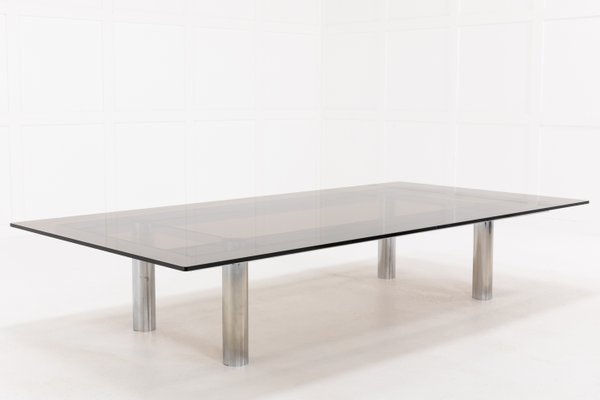 large mid century chrome and glass coffee table by tobia scarpa 1960s