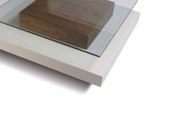 white crystal and wood coffee table by jacobo ventura for ca spanish handicraft