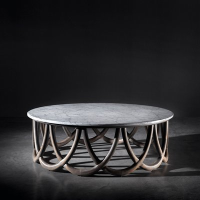 wood marble coffee table by jacobo ventura for ca spanish handicraft