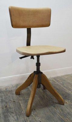 chaise de bureau en bois et metal 1950s