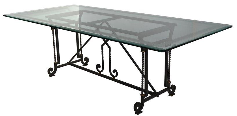 table de salle a manger ou de bureau en verre cristal clair et fer forge par cupioli