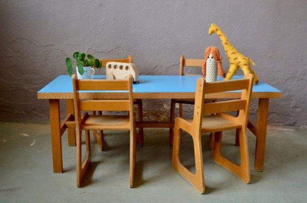 set de table et chaise pour enfant annees 60