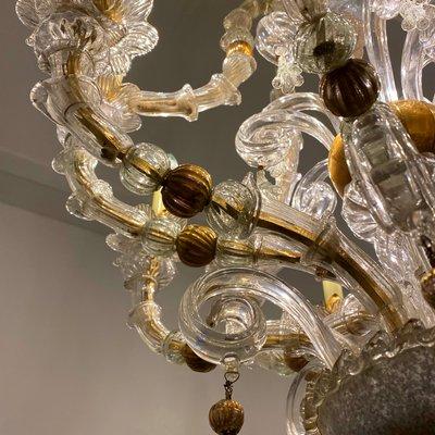 lustre style baroque vintage en or et verre de murano 1930s