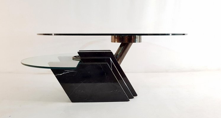 vintage italian black marble and glass swivel coffee table 1980s