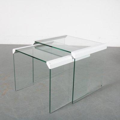 tables gigognes en verre par pierangelo gallotti pour gallotti radice italie annees 70 set de 2