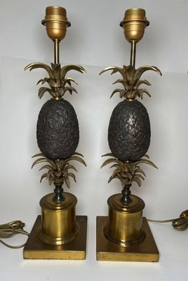 vintage bronze pineapple table lamps set of 2