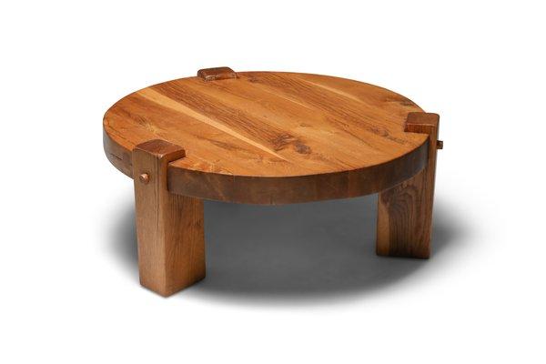 modern rustic oak coffee table 1960s