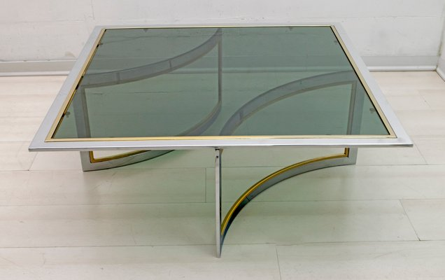 mid century modern brass chrome coffee table 1970s