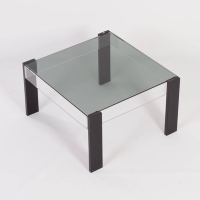 small square vintage coffee table made of black ashwood perspex and glass 1970s