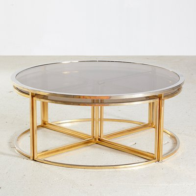 golden framed round glass coffee table and nesting tables set 1960s set of 5