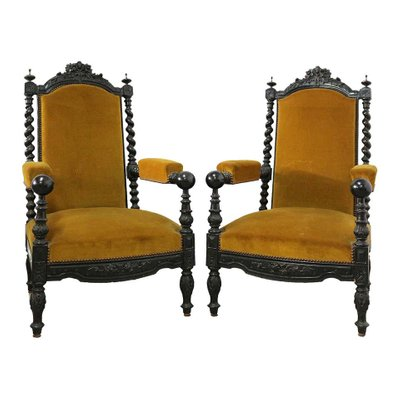 19th century louis xiii style french throne chairs set of 2